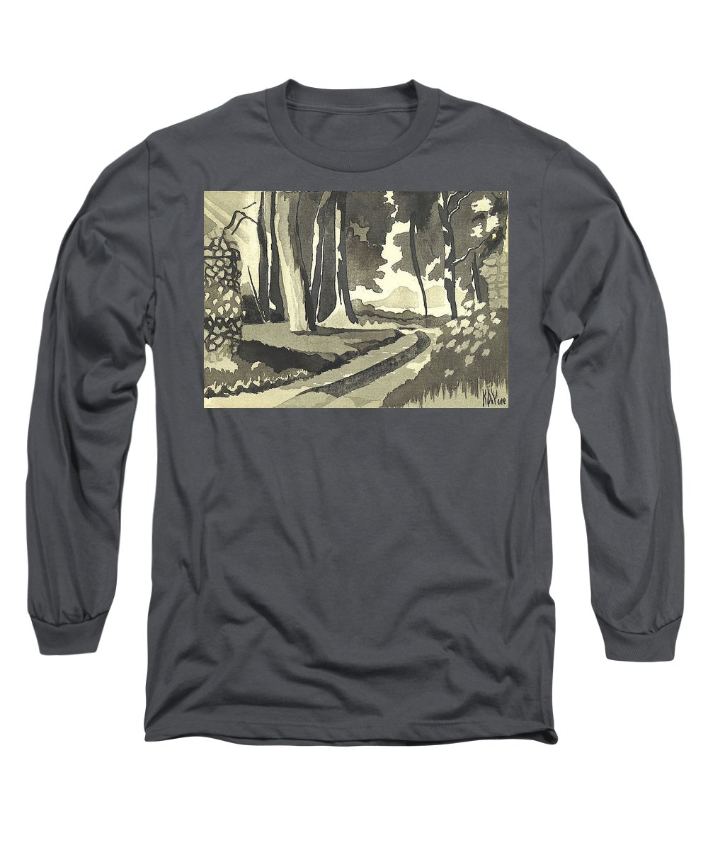 Rural Long Sleeve T-Shirt featuring the painting Country Lane In Evening Shadow by Kip DeVore