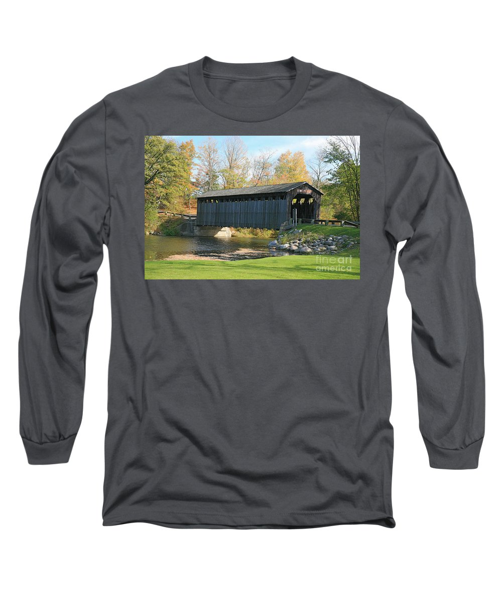 Covered Bridge Long Sleeve T-Shirt featuring the photograph Covered Bridge by Robert Pearson