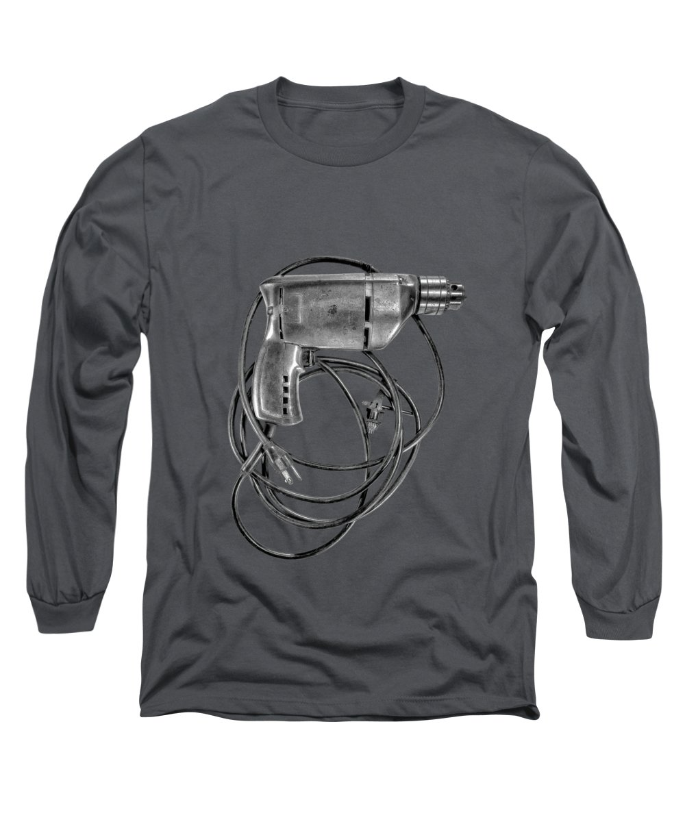 Antique Long Sleeve T-Shirt featuring the photograph Craftsman Drill Motor Bs Bw by YoPedro