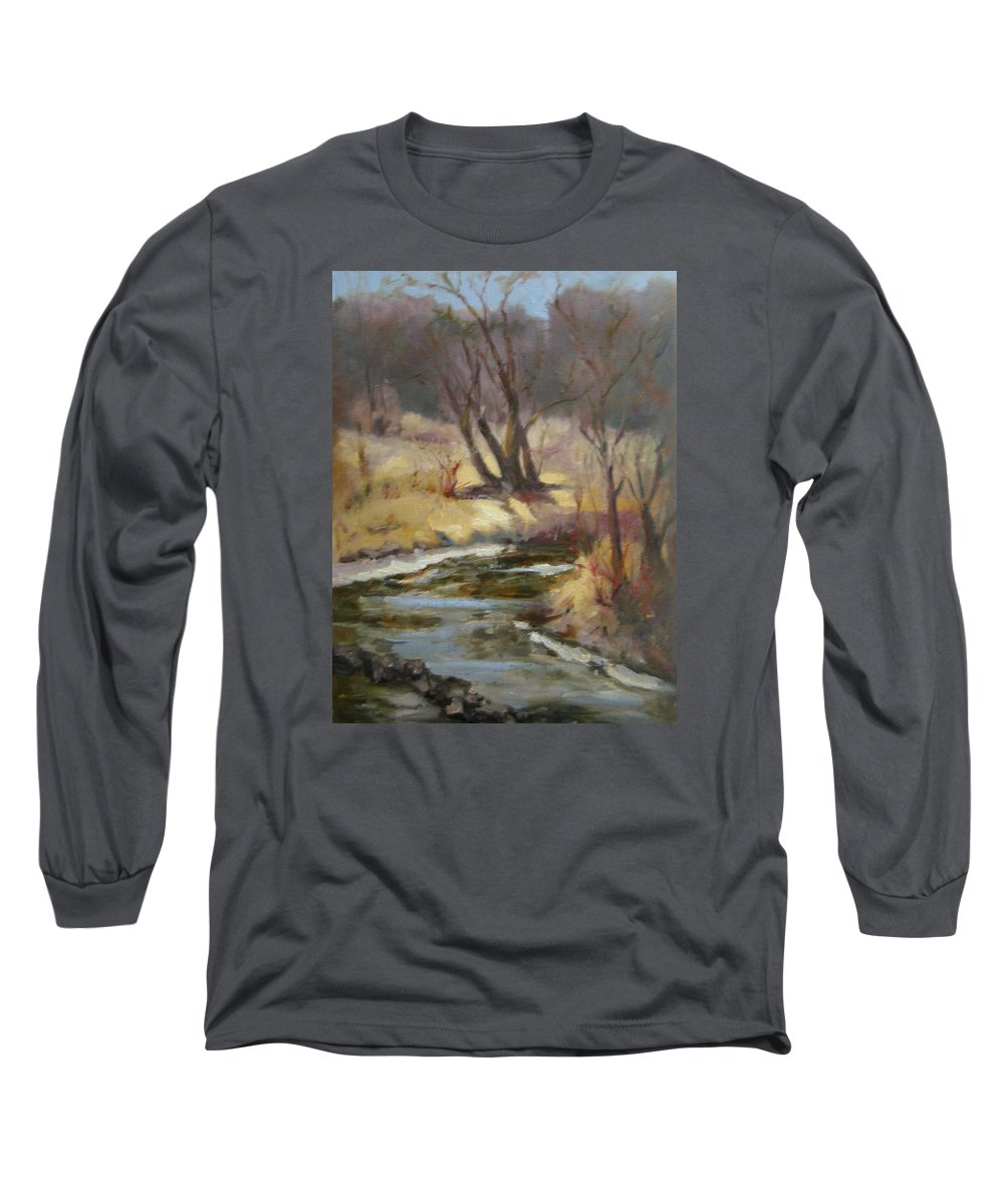 Plein Air Landscape Long Sleeve T-Shirt featuring the painting Credit River by Patricia Kness