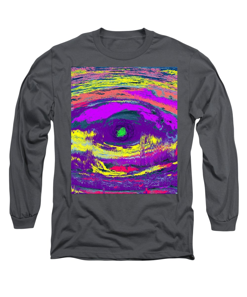 Abstract Long Sleeve T-Shirt featuring the digital art Crocodile Eye by Ian MacDonald