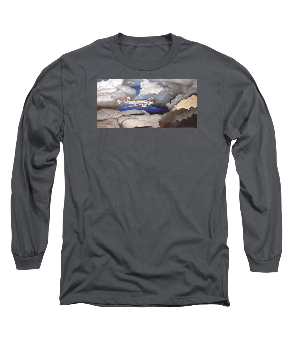 Aviation Long Sleeve T-Shirt featuring the painting Crossing Over Amelia Earharts Final Flight by Marc Stewart