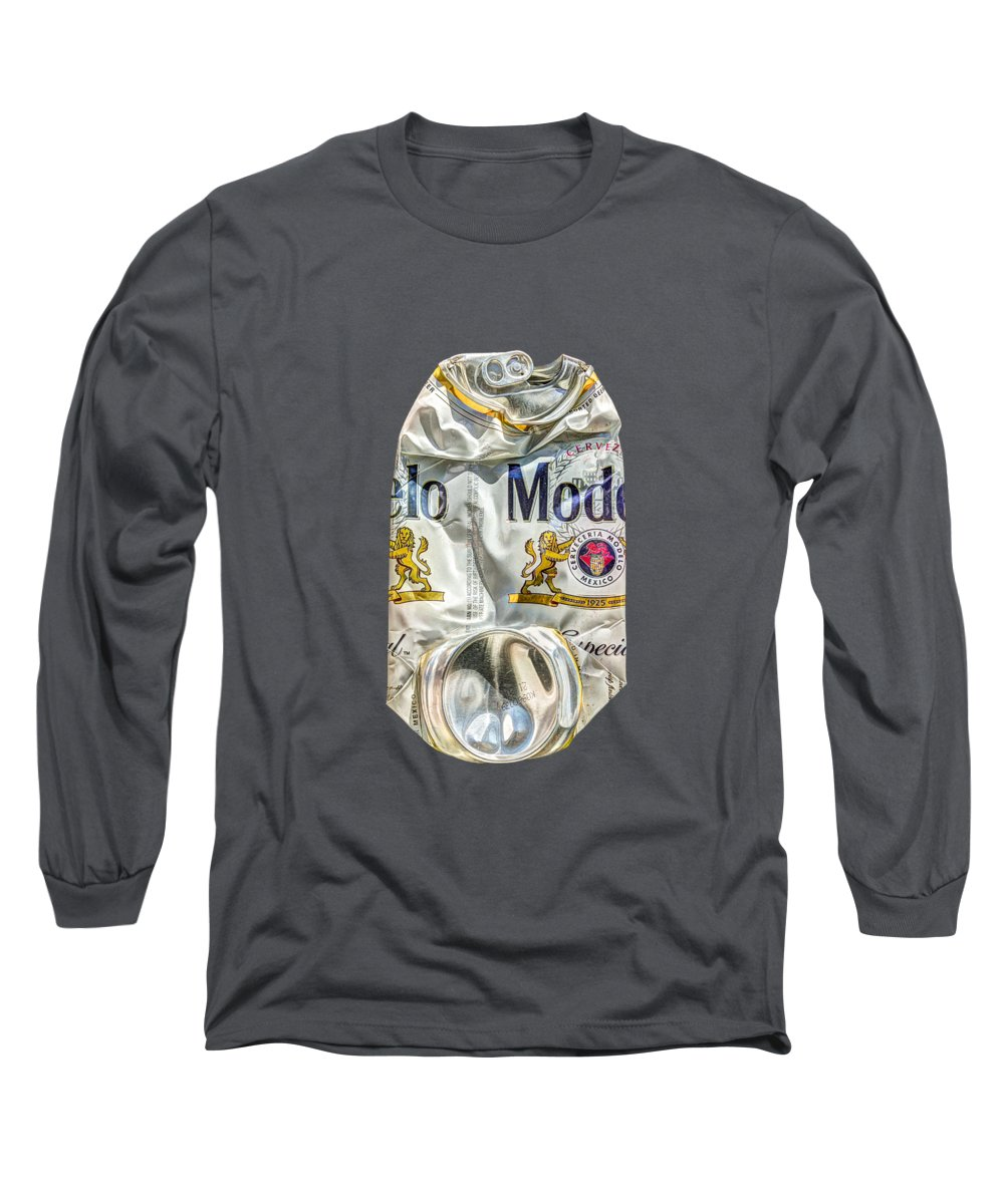 Beer Can Long Sleeve T-Shirt featuring the photograph Crushed Beer Can Especial on BW Plywood 82 by YoPedro