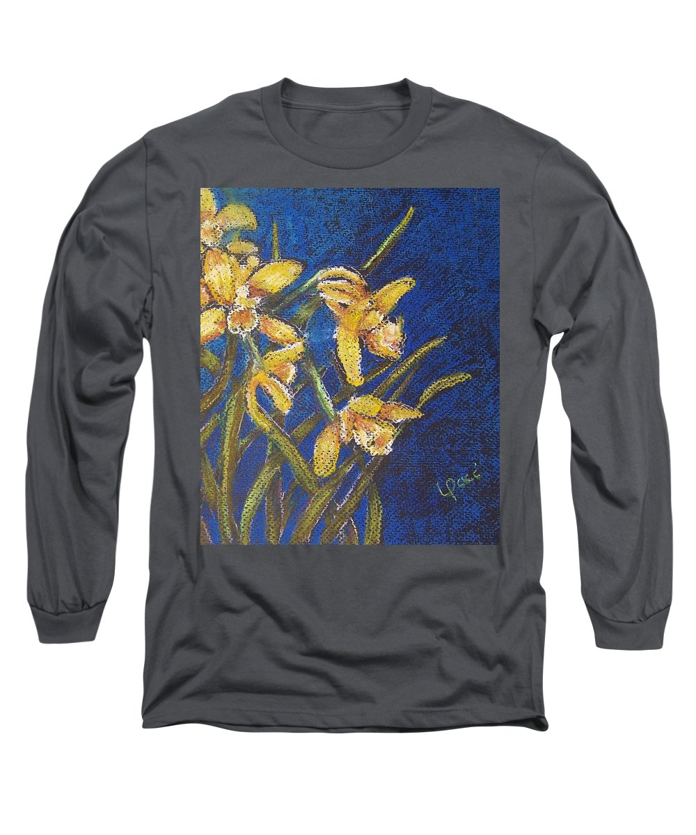 Daffodils Long Sleeve T-Shirt featuring the painting Daffodils by Laurie Paci
