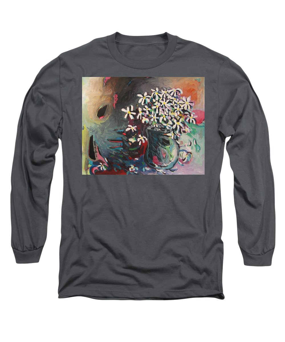 Daisy Paintings Long Sleeve T-Shirt featuring the painting Daisy In Vase by Seon-Jeong Kim