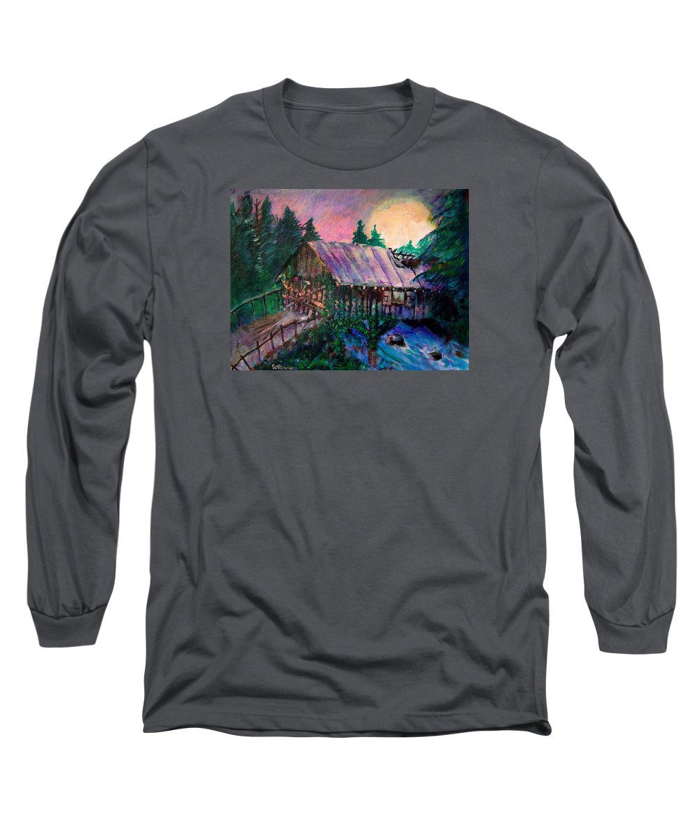 Dangerous Bridge Long Sleeve T-Shirt featuring the painting Dangerous Bridge by Seth Weaver