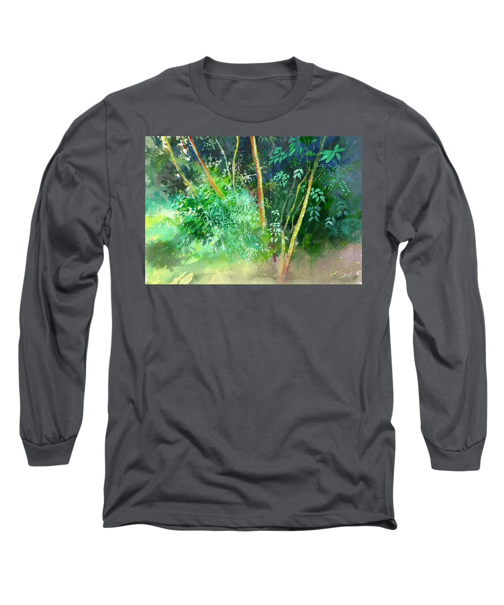 Water Color Long Sleeve T-Shirt featuring the painting Deep by Anil Nene