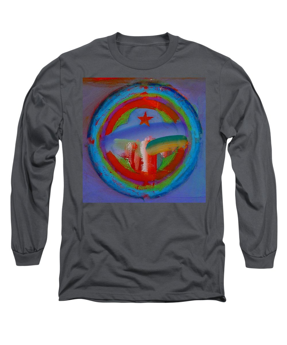 Logo Long Sleeve T-Shirt featuring the painting Deep Blue Decal by Charles Stuart