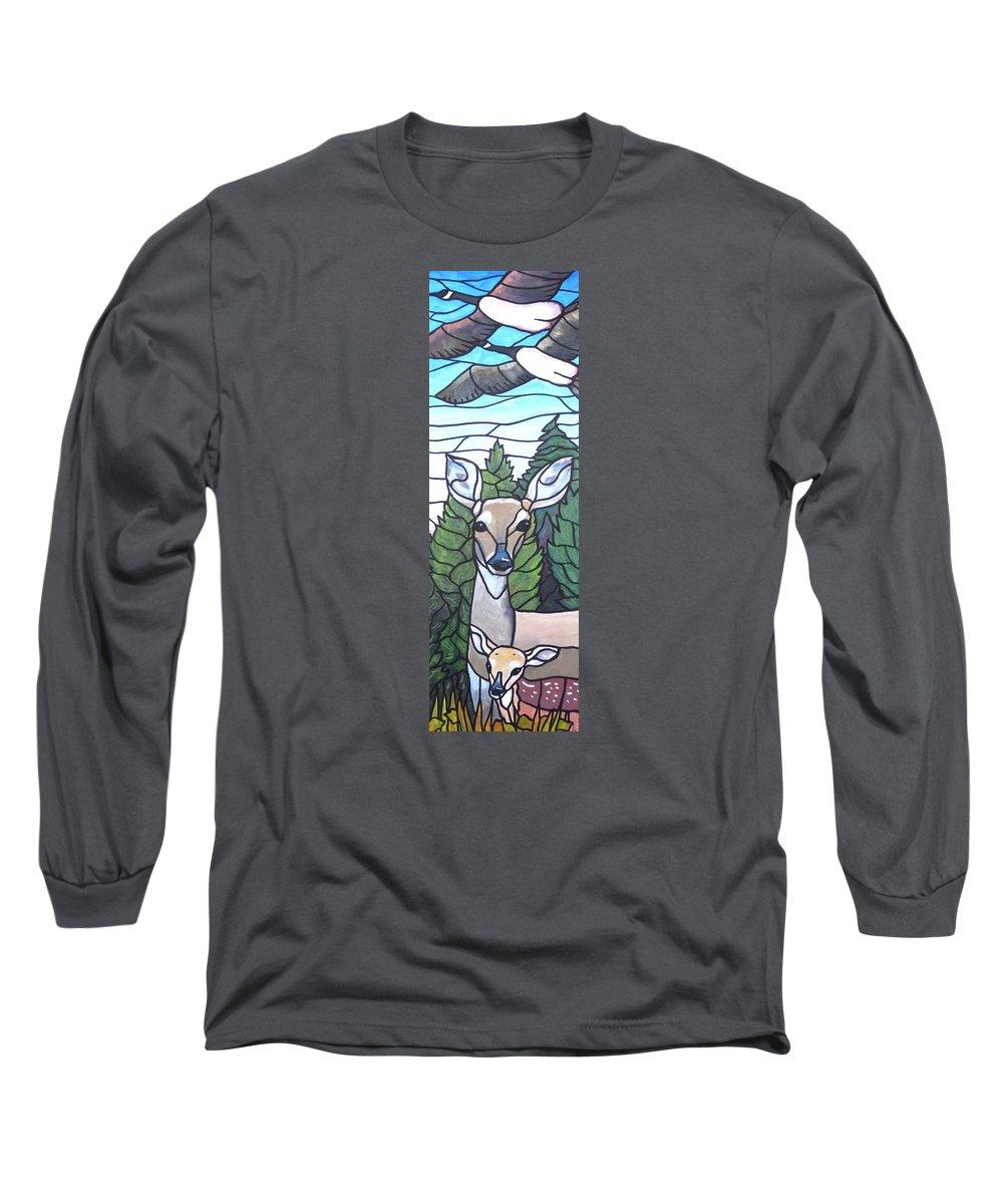 Deer Long Sleeve T-Shirt featuring the painting Deer Scene by Jim Harris