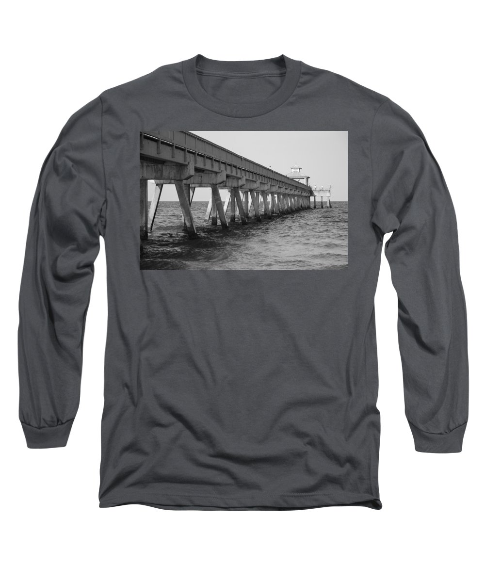 Architecture Long Sleeve T-Shirt featuring the photograph Deerfield Beach Pier by Rob Hans