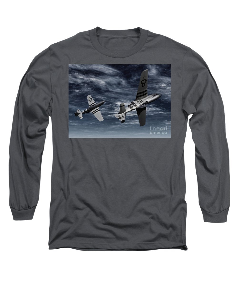 Aircombat Long Sleeve T-Shirt featuring the digital art Defensive Split by Richard Rizzo