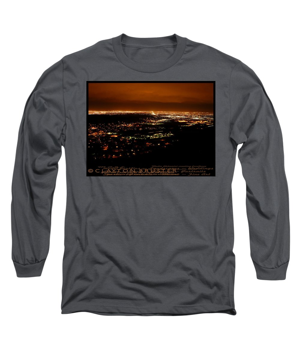 Clay Long Sleeve T-Shirt featuring the photograph Denver Area At Night From Lookout Mountain by Clayton Bruster
