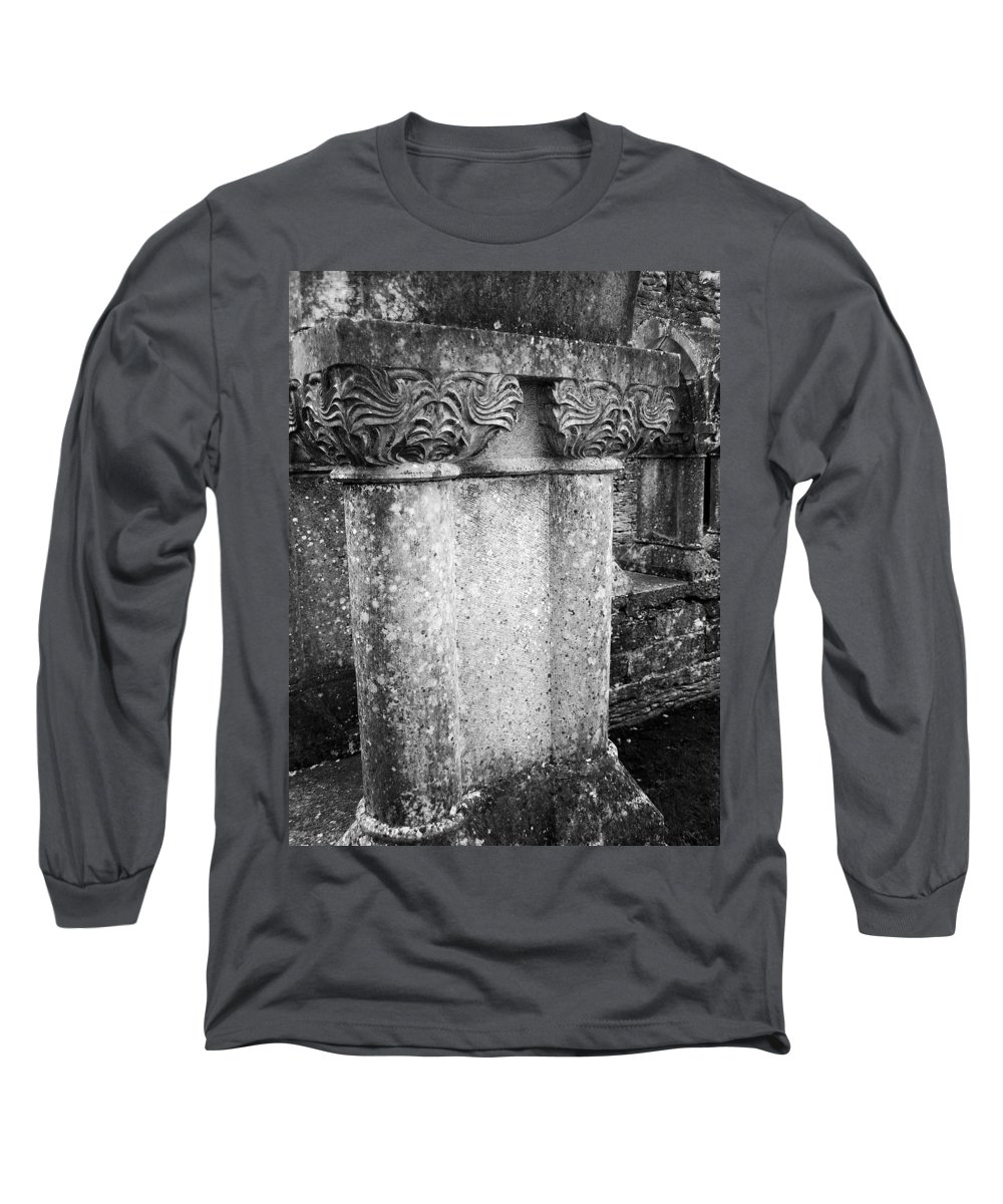 Irish Long Sleeve T-Shirt featuring the photograph Detail Of Capital Of Cloister At Cong Abbey Cong Ireland by Teresa Mucha