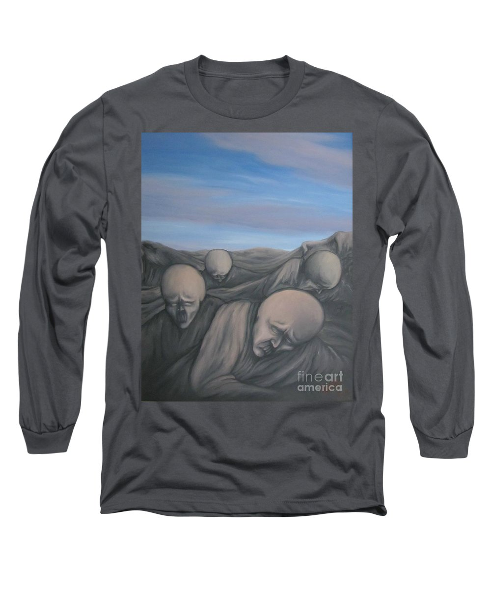 Tmad Long Sleeve T-Shirt featuring the painting Dismay by Michael TMAD Finney