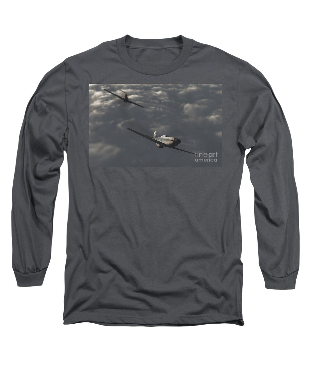 Ww2 Long Sleeve T-Shirt featuring the digital art Dog Fight by Richard Rizzo