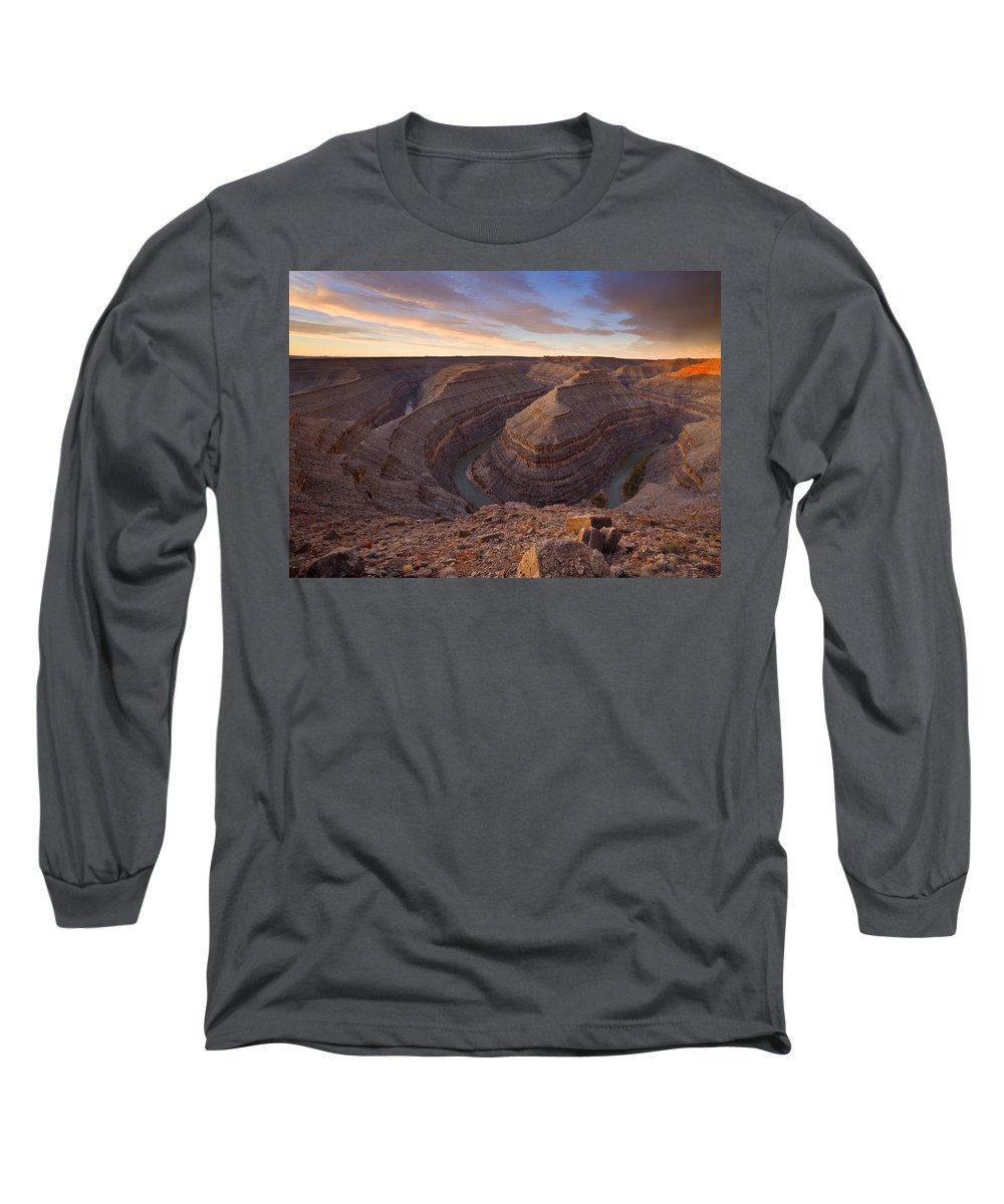 Goosenecks State Park Long Sleeve T-Shirt featuring the photograph Doubleback by Mike Dawson