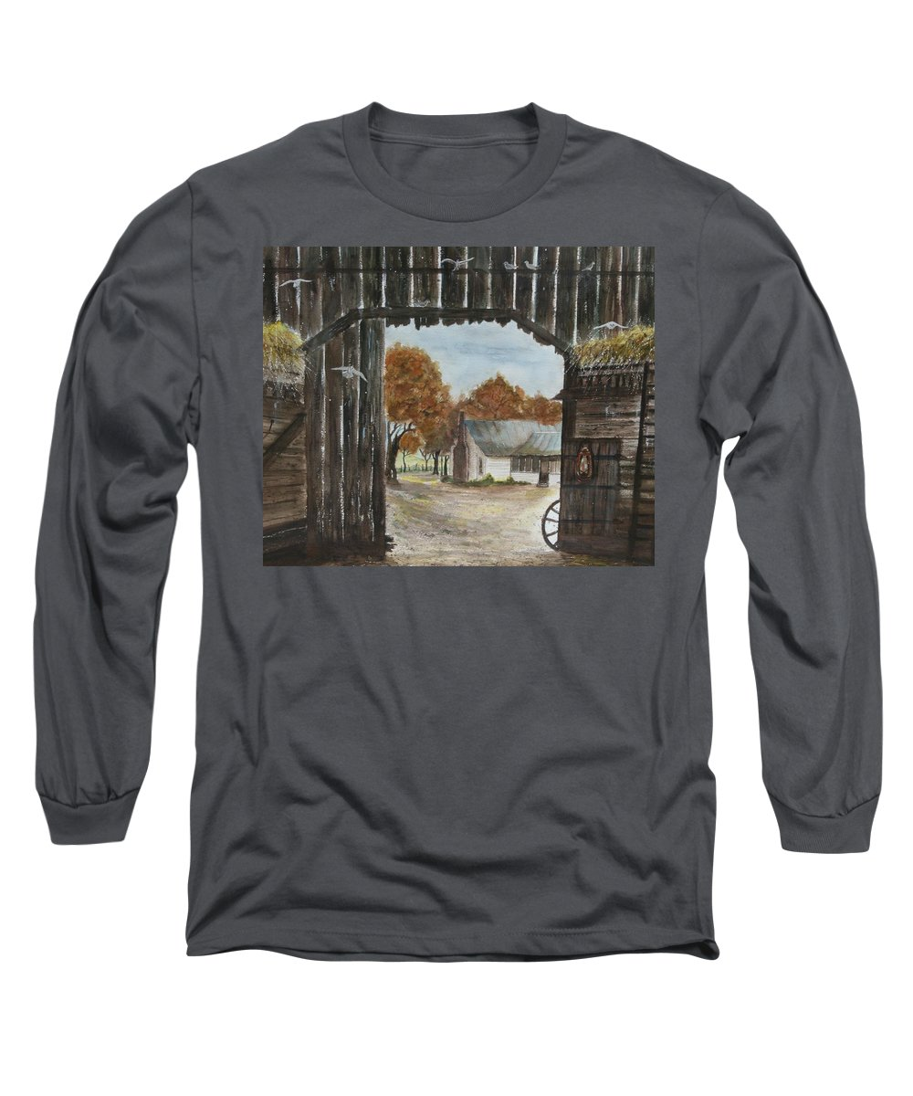 Grandpa And Grandma's Homeplace Long Sleeve T-Shirt featuring the painting Down Home by Ben Kiger