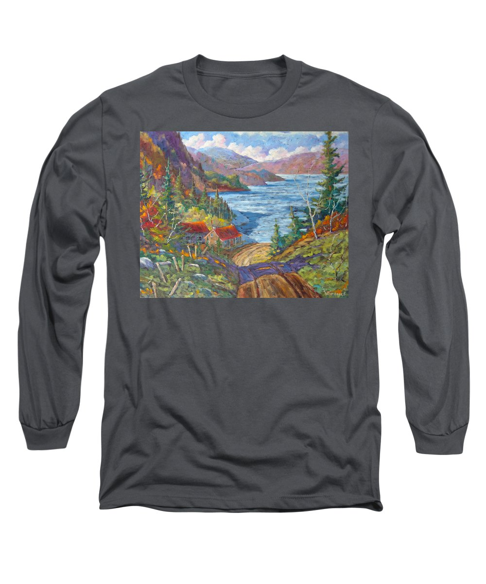 Landscape Long Sleeve T-Shirt featuring the painting Down To The Lake by Richard T Pranke