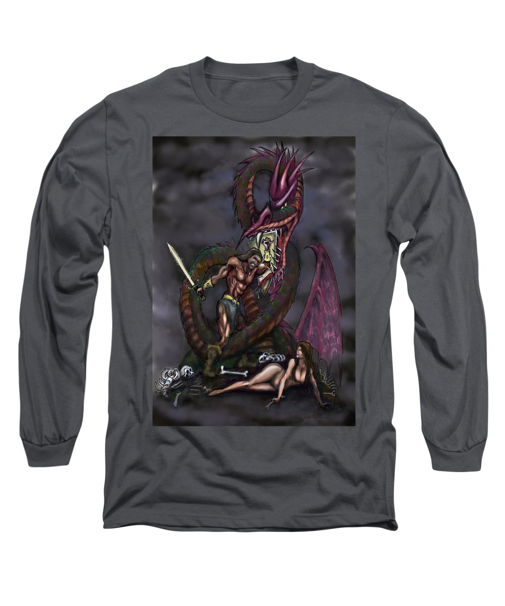 Dragon Long Sleeve T-Shirt featuring the painting Dragonslayer by Kevin Middleton