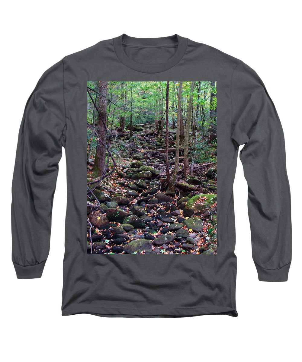 River Long Sleeve T-Shirt featuring the photograph Dry River Bed- Autumn by Nancy Mueller