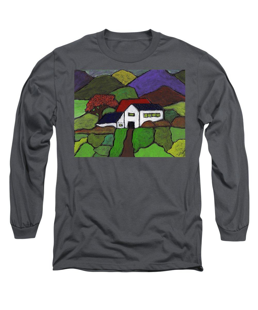 Farm Long Sleeve T-Shirt featuring the painting Early Autumn by Wayne Potrafka