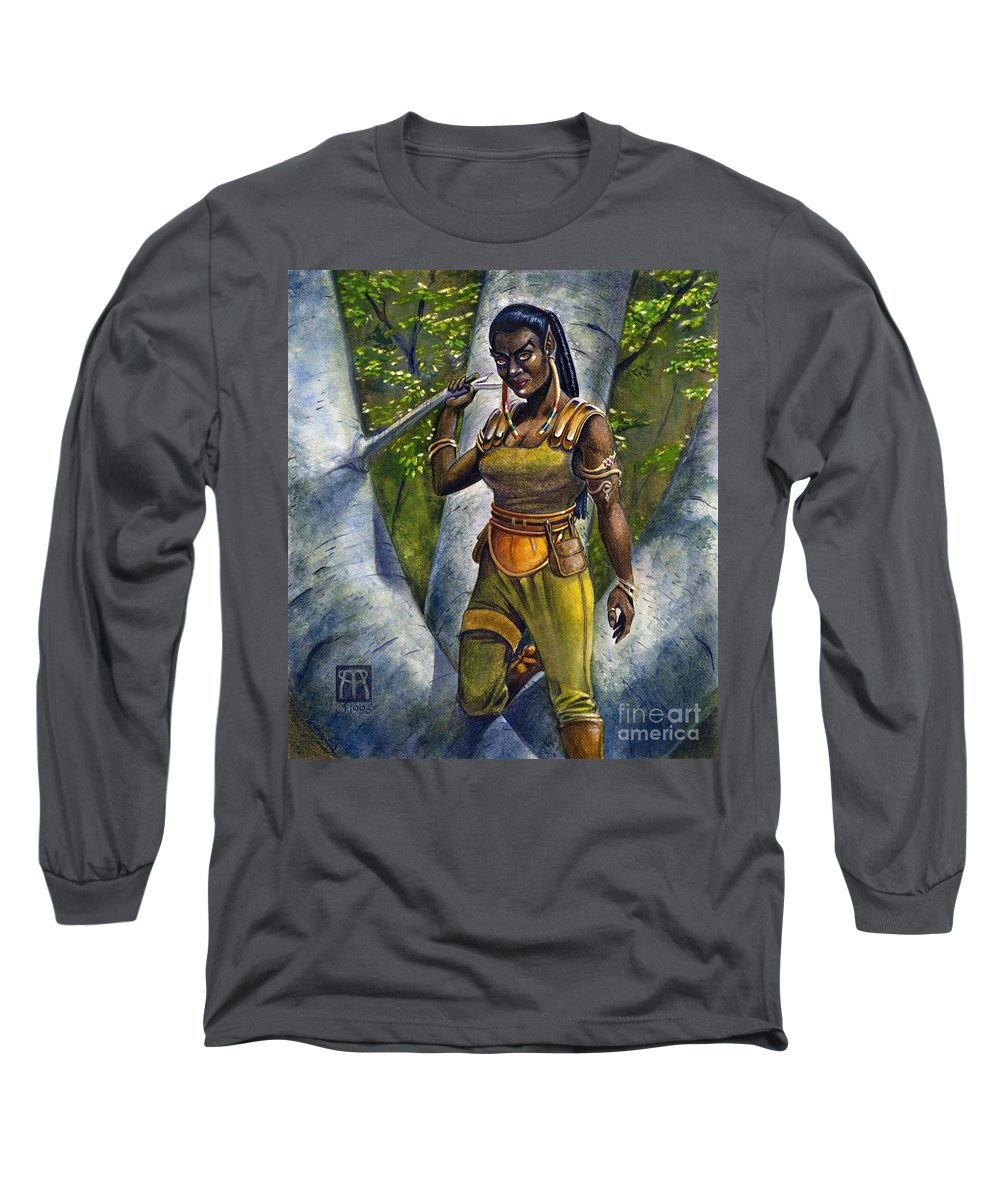 Elf Long Sleeve T-Shirt featuring the painting Ebony Elf by Melissa A Benson