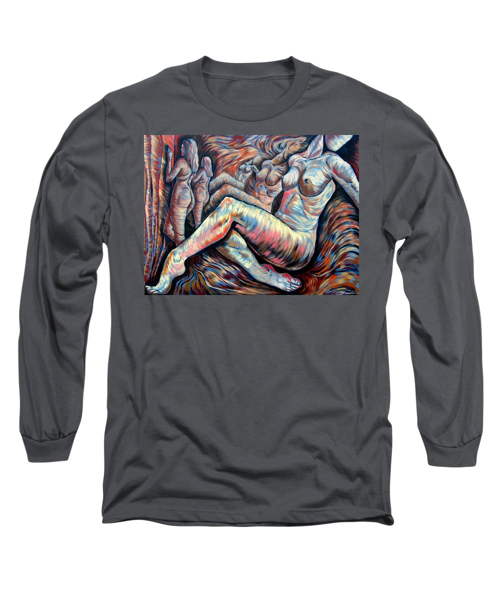 Surrealism Long Sleeve T-Shirt featuring the painting Echo Of A Nude Gesture II by Darwin Leon