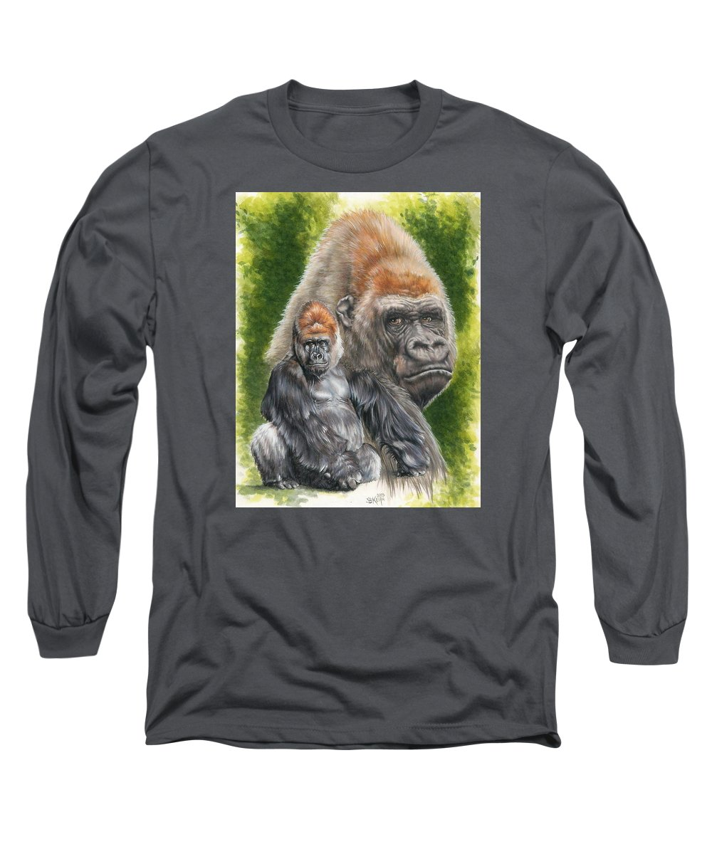 Gorilla Long Sleeve T-Shirt featuring the mixed media Eloquent by Barbara Keith