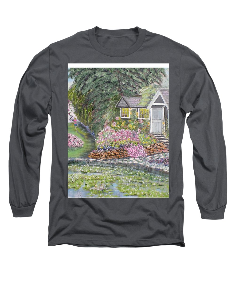 Cottage Long Sleeve T-Shirt featuring the painting English Cottage by Hal Newhouser