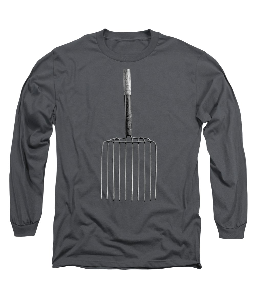 Art Long Sleeve T-Shirt featuring the photograph Ensilage Fork Up On Plywood In Bw 66 by YoPedro