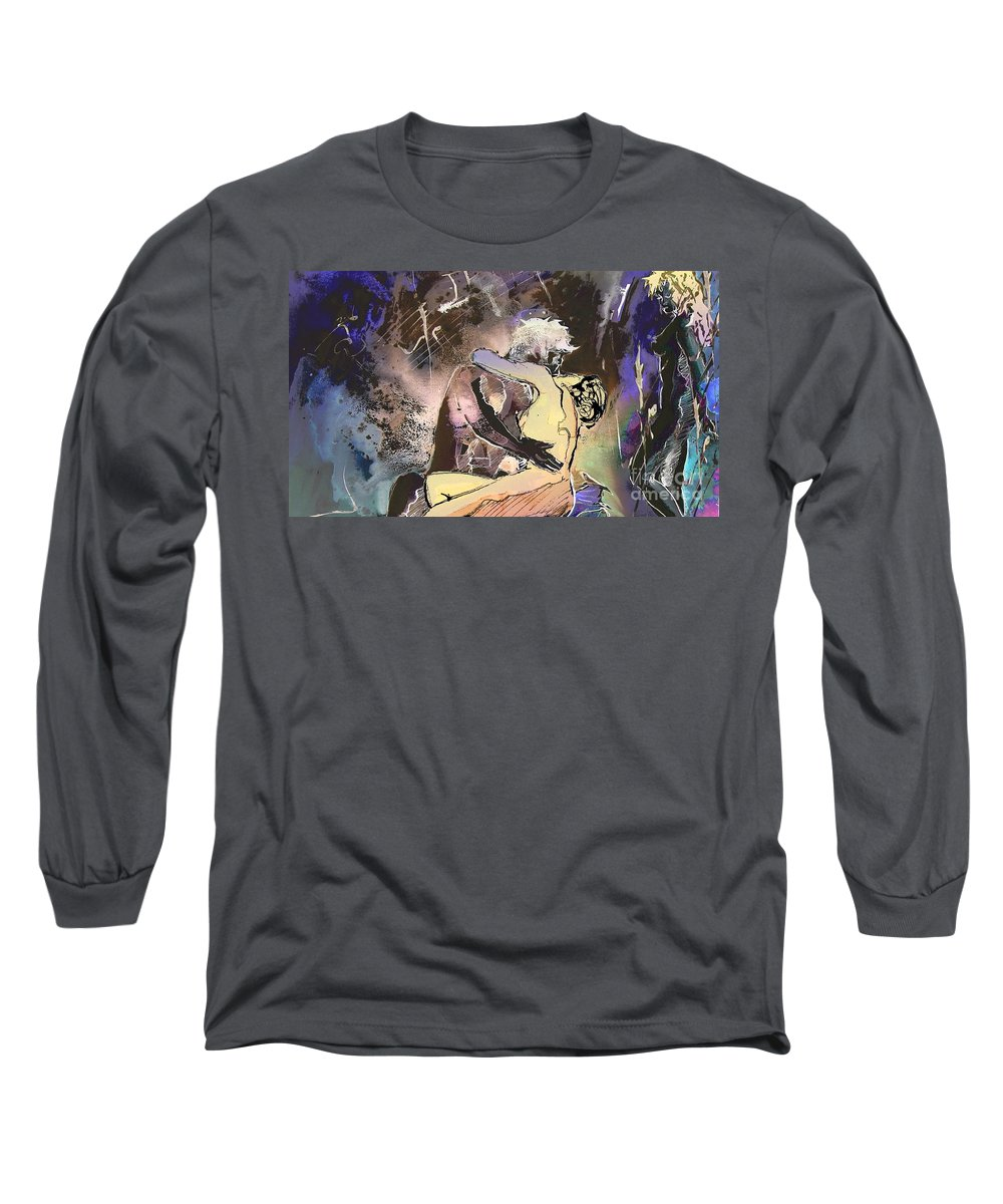 Miki Long Sleeve T-Shirt featuring the painting Eroscape 09 2 by Miki De Goodaboom