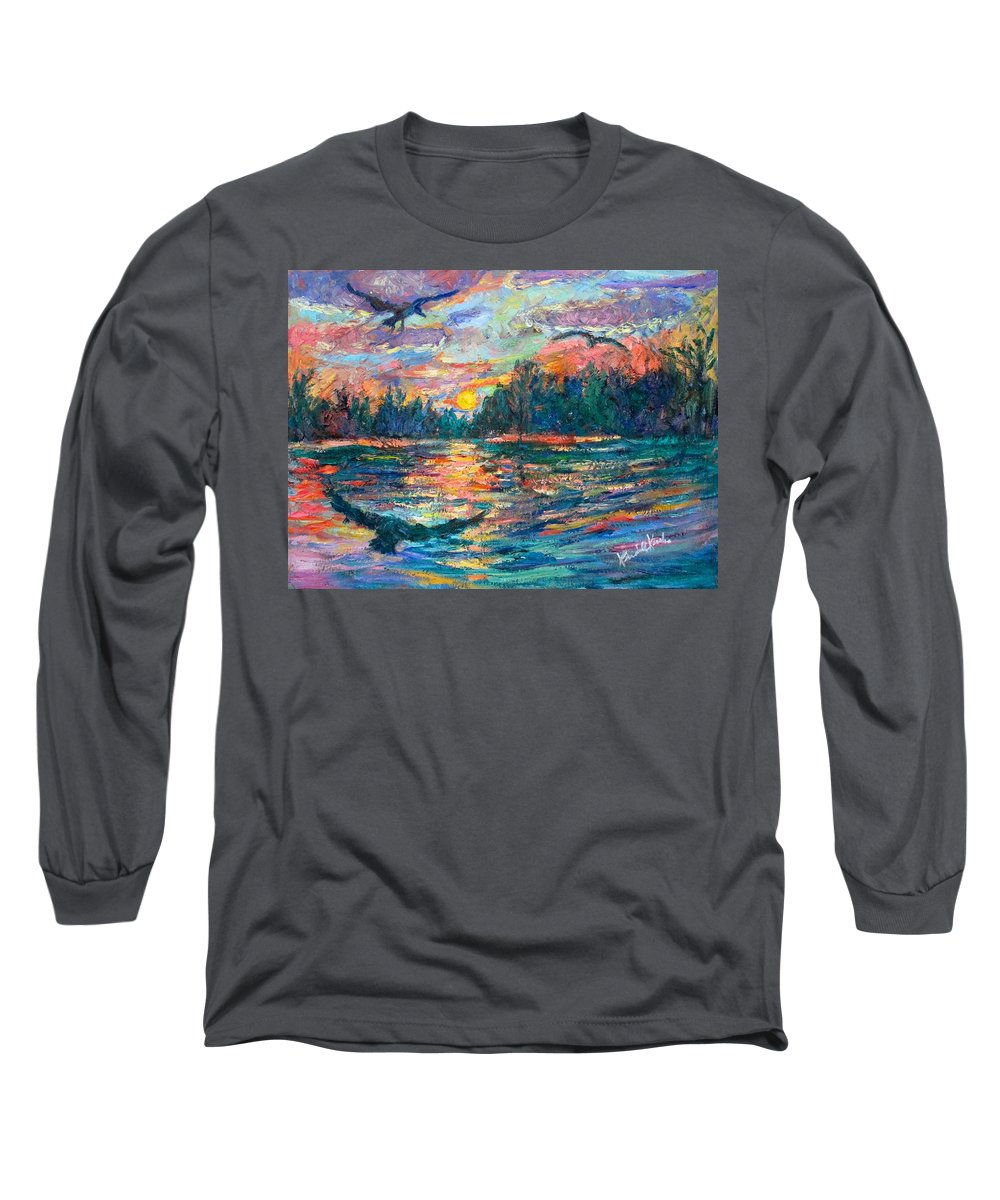 Landscape Long Sleeve T-Shirt featuring the painting Evening Flight by Kendall Kessler