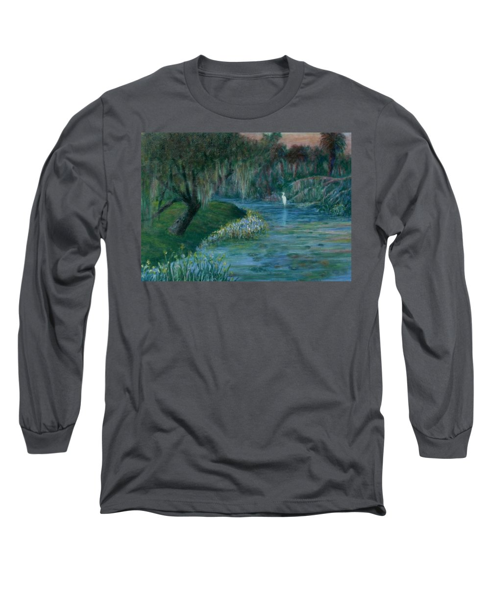 Low Country; Egrets; Lily Pads Long Sleeve T-Shirt featuring the painting Evening Shadows by Ben Kiger