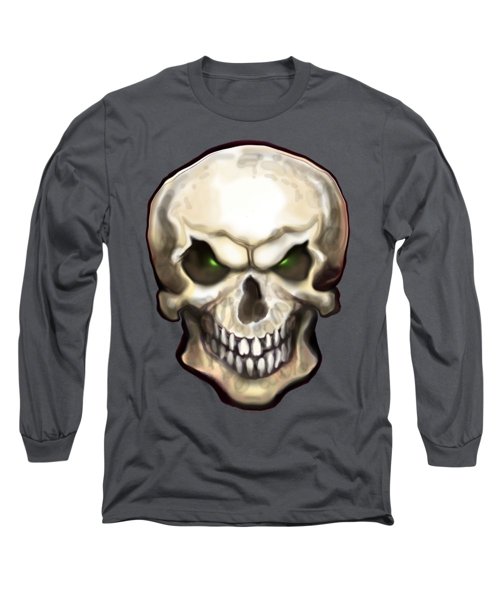 Skull Long Sleeve T-Shirt featuring the painting Evil Skull by Kevin Middleton