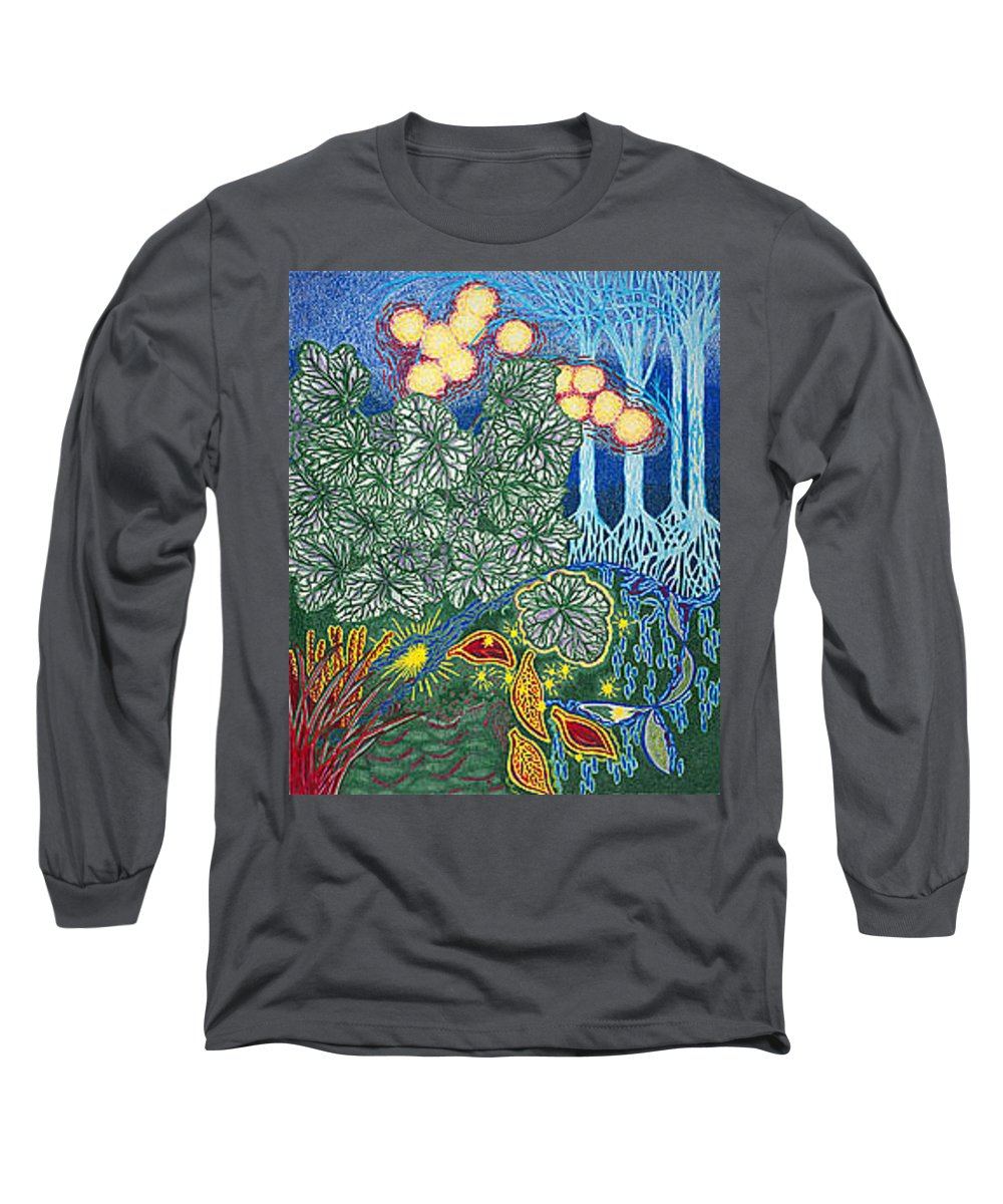 Art Long Sleeve T-Shirt featuring the drawing Exciting Harmony Art Prints And Gifts Autumn Leaves Botanical Garden Park Plants by Baslee Troutman
