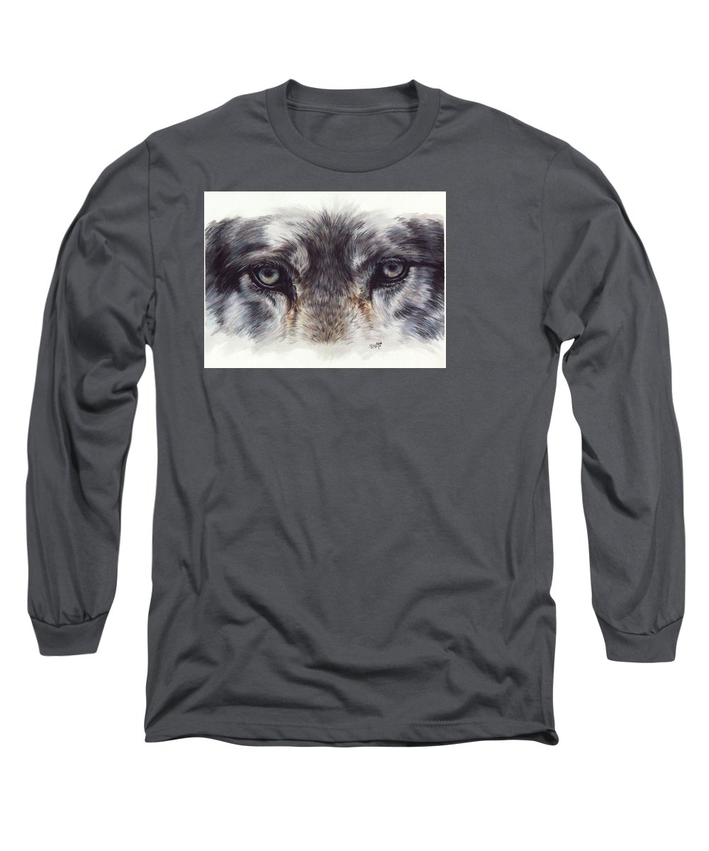 Wolf Long Sleeve T-Shirt featuring the painting Eye-catching Wolf by Barbara Keith