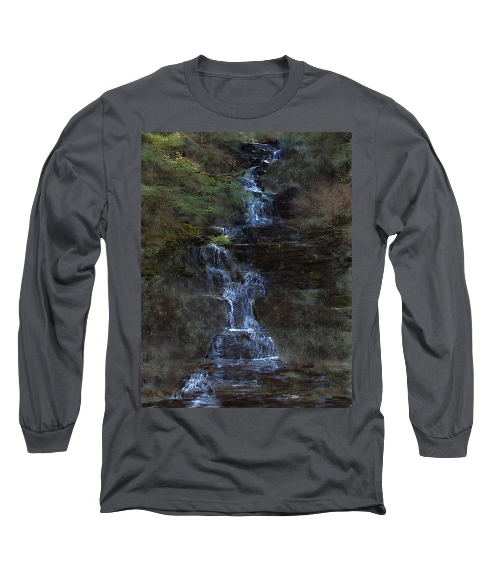 Long Sleeve T-Shirt featuring the photograph Falls At 6 Mile Creek Ithaca N.y. by David Lane