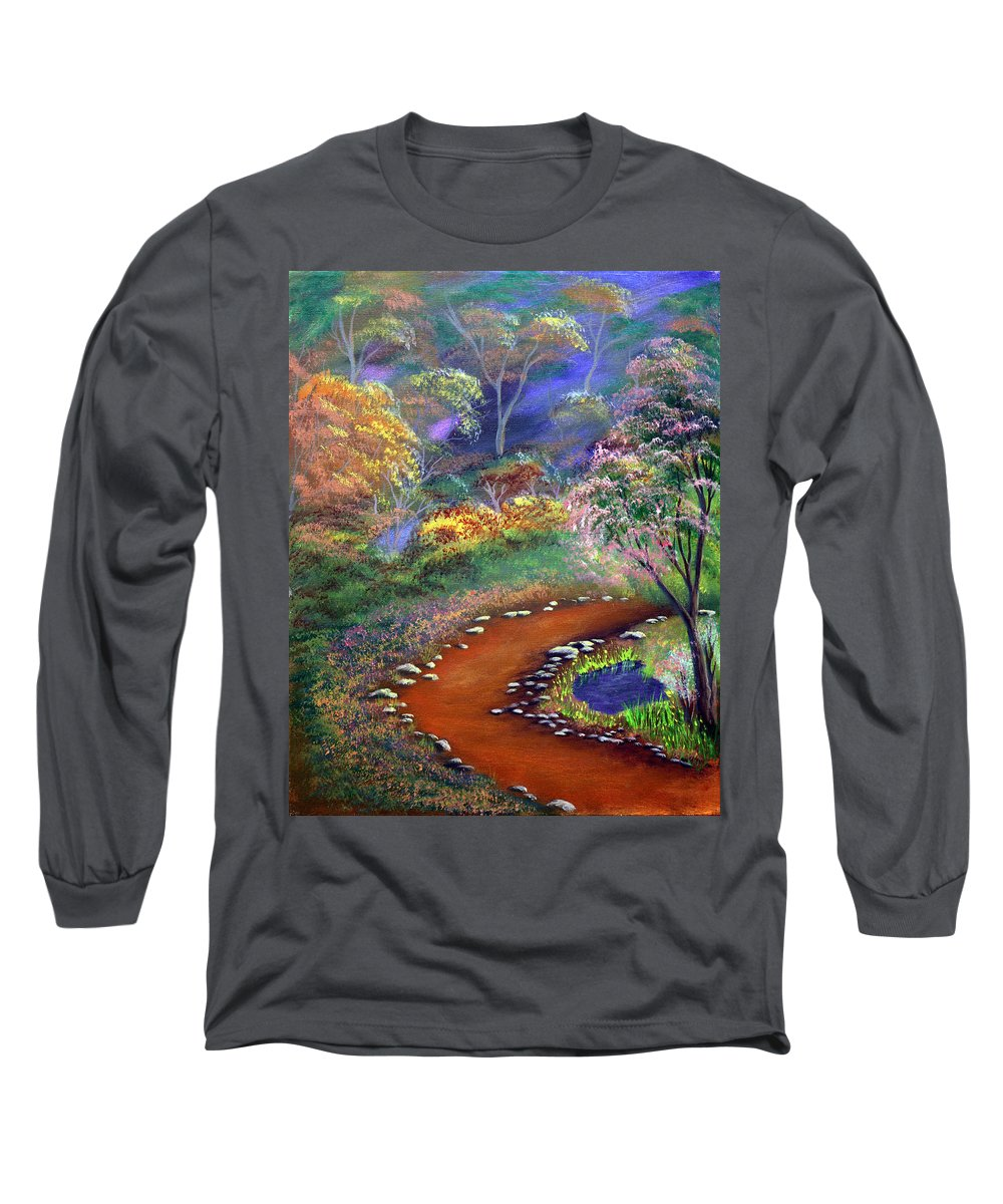 Dawn Blair Long Sleeve T-Shirt featuring the painting Fantasy Path by Dawn Blair