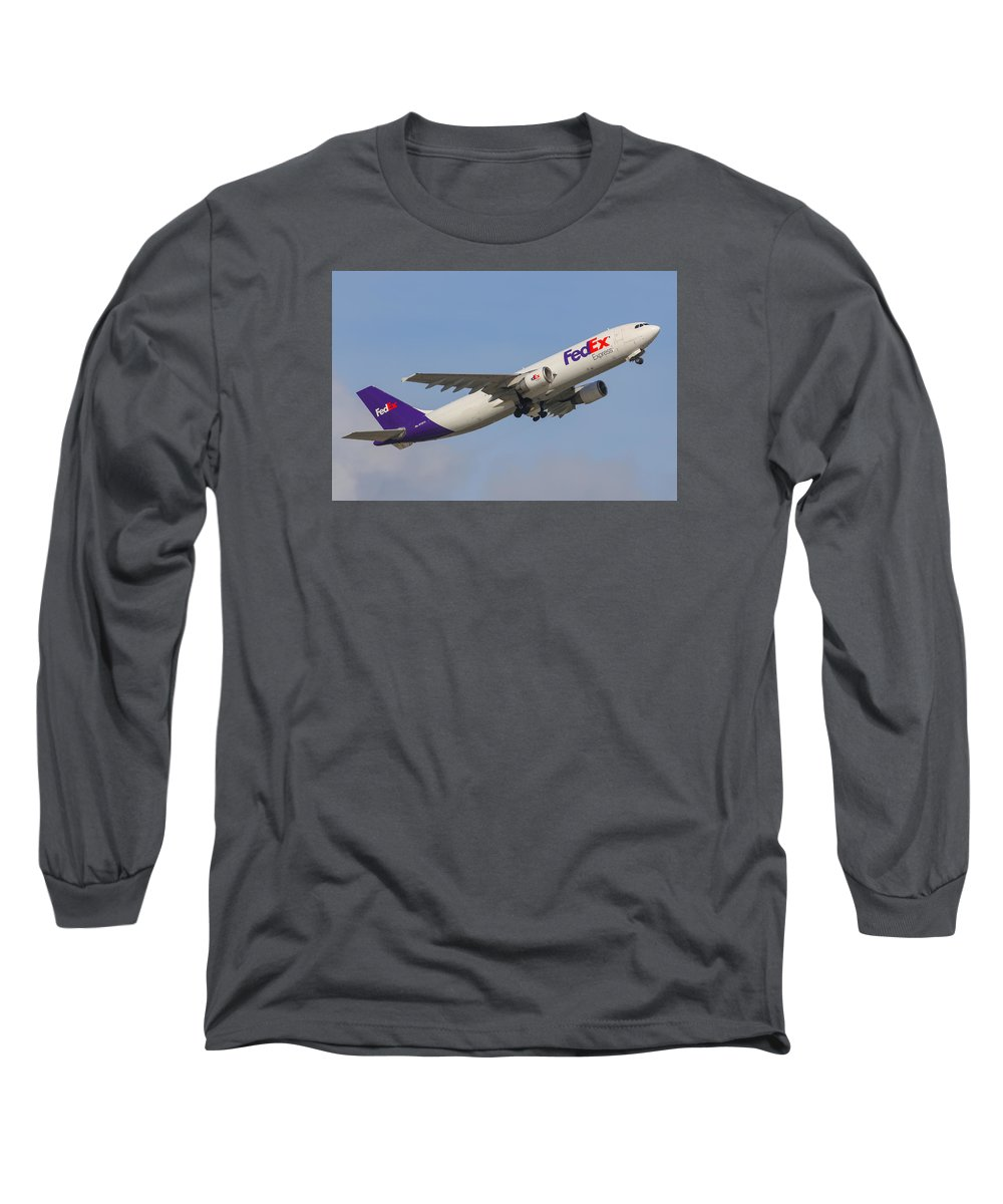 Aviation Long Sleeve T-Shirt featuring the photograph Fedex Airplane by Dart and Suze Humeston