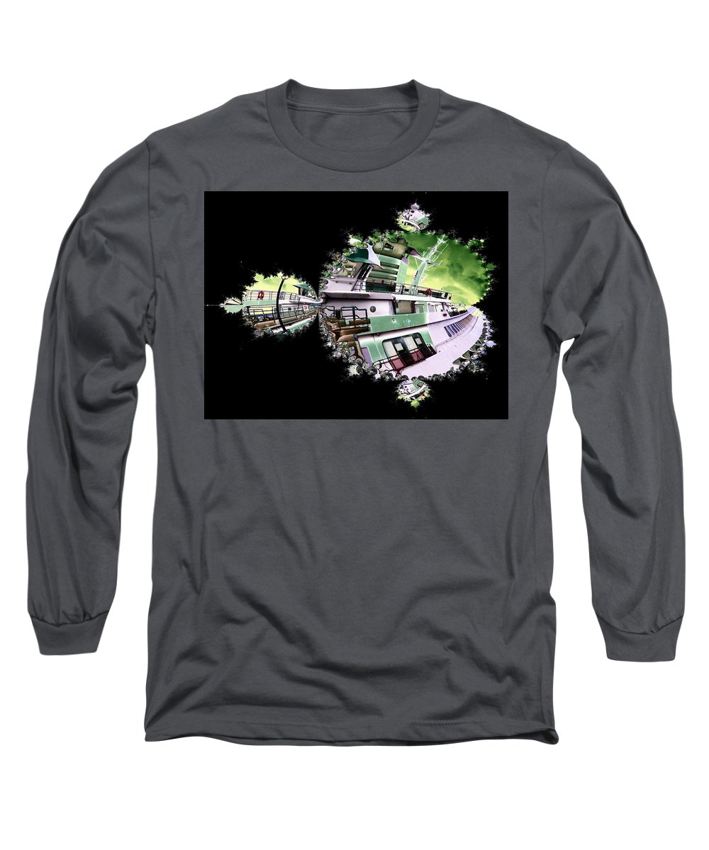 Seattle Long Sleeve T-Shirt featuring the digital art Ferry In Fractal by Tim Allen