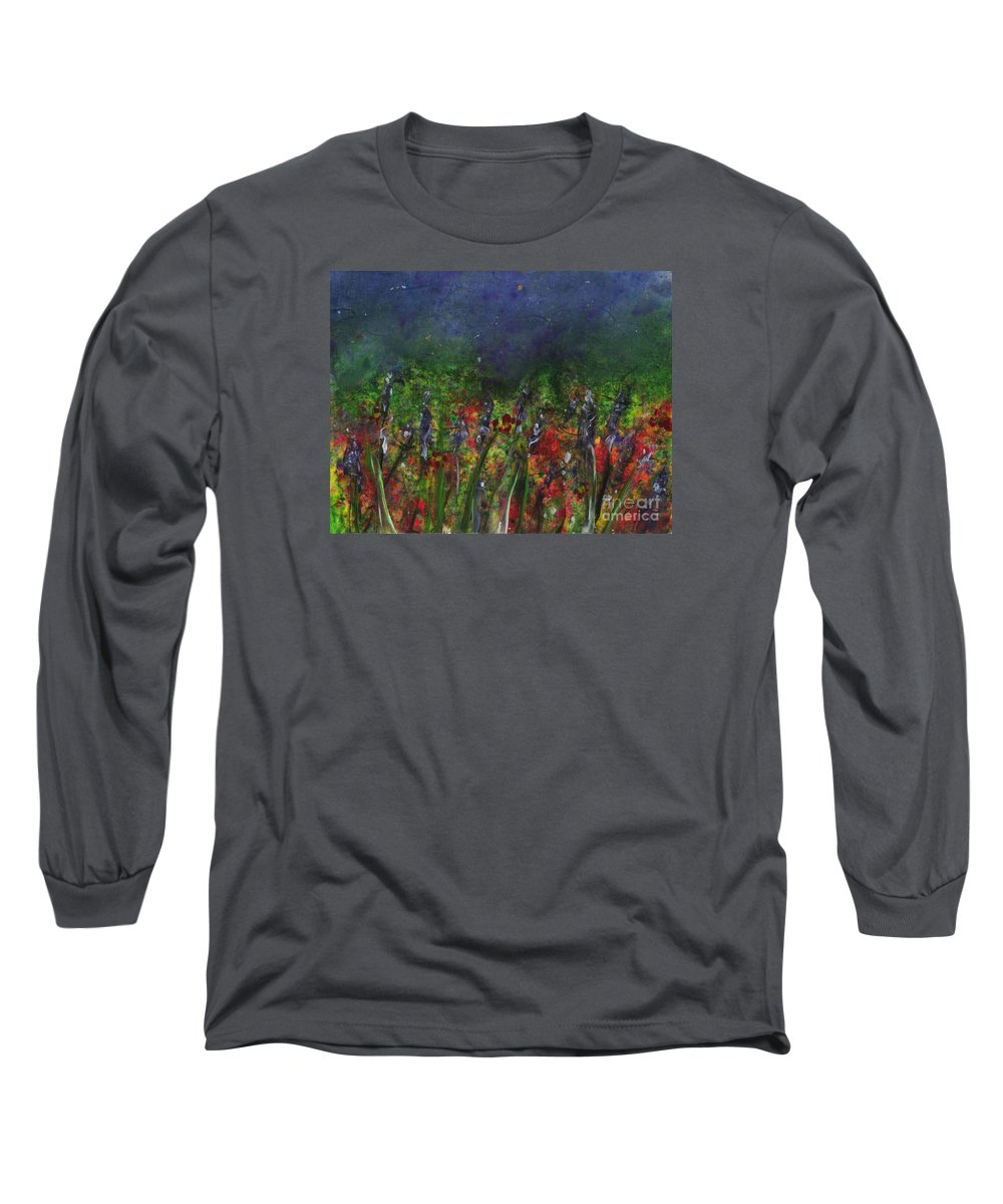Flowers Long Sleeve T-Shirt featuring the painting Field Of Flowers by Lynn Quinn