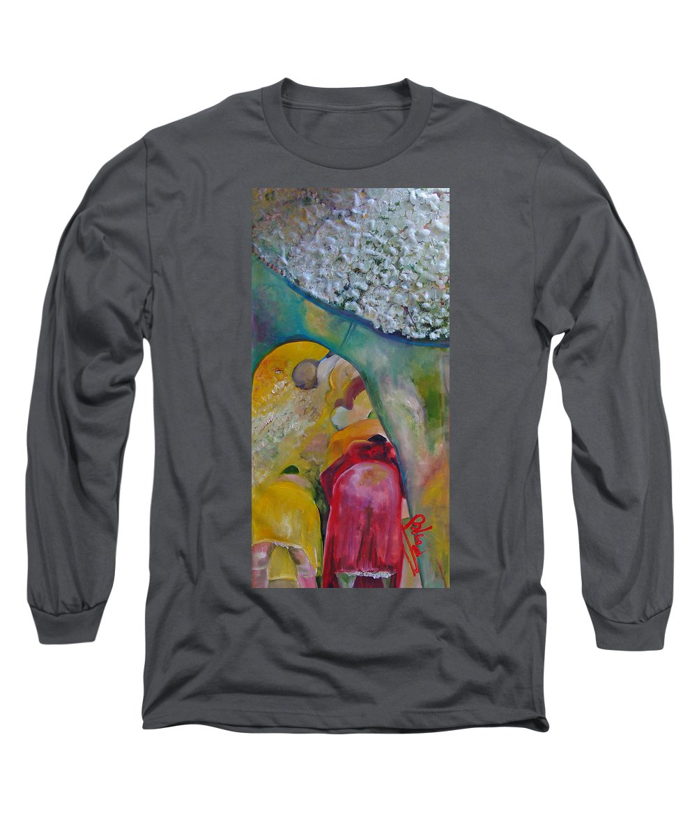 Cotton Long Sleeve T-Shirt featuring the painting Fields Of Cotton by Peggy Blood