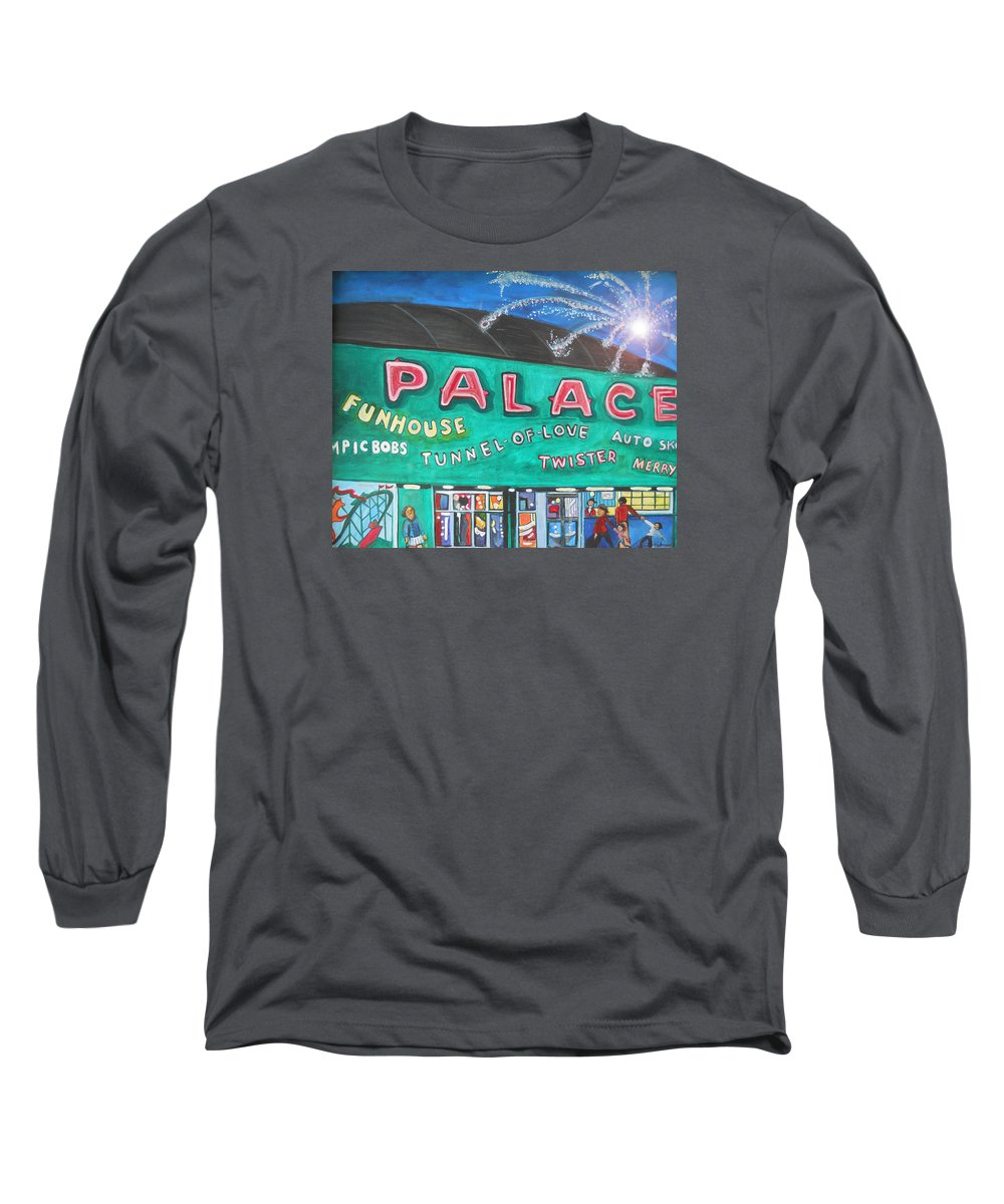 Asbury Park Art Long Sleeve T-Shirt featuring the painting Fireworks At The Palace by Patricia Arroyo