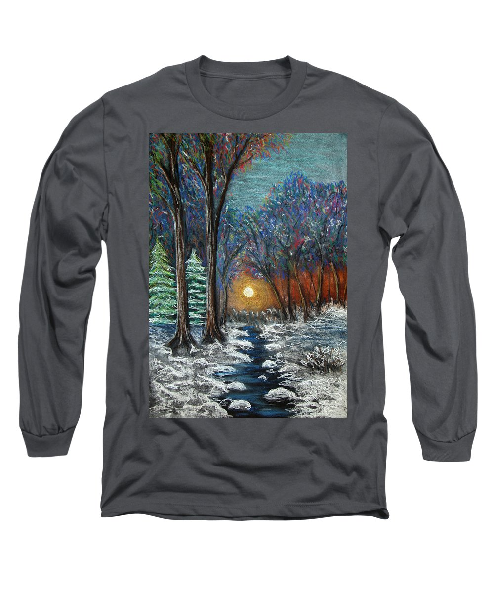 Snow Long Sleeve T-Shirt featuring the pastel First Snow by Nancy Mueller