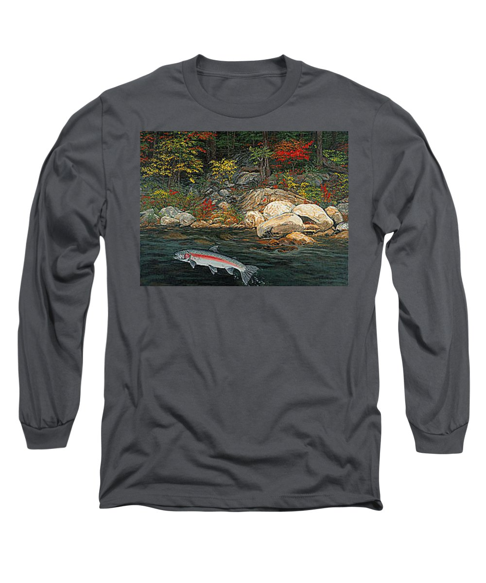 Art Long Sleeve T-Shirt featuring the painting Fish Art Jumping Silver Steelhead Trout Art Nature Artwork Giclee Wildlife Underwater Wall Art Work by Baslee Troutman