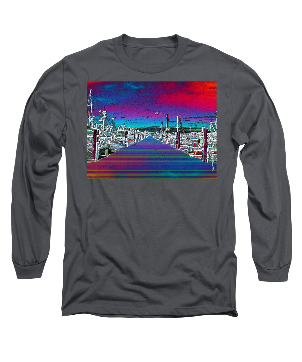 Seattle Long Sleeve T-Shirt featuring the photograph Fishermans Terminal Pier by Tim Allen