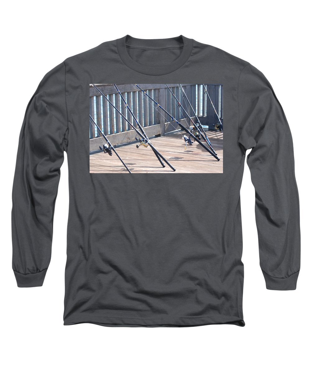 Pier Long Sleeve T-Shirt featuring the photograph Fishing Rods by Rob Hans