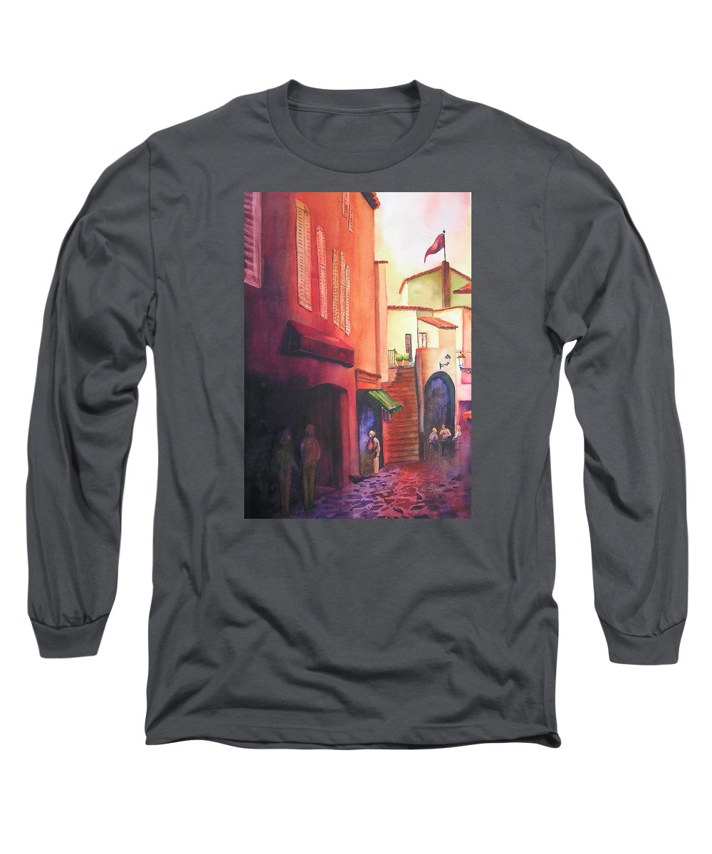 Europe Long Sleeve T-Shirt featuring the painting Flag Over St. Tropez by Karen Stark