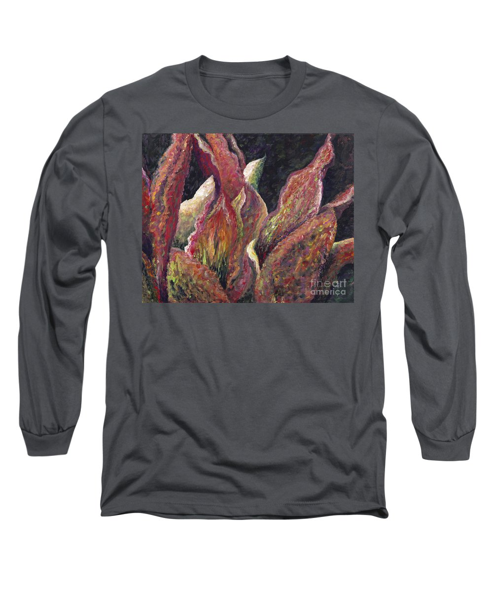 Leaves Long Sleeve T-Shirt featuring the painting Flaming Leaves by Nadine Rippelmeyer