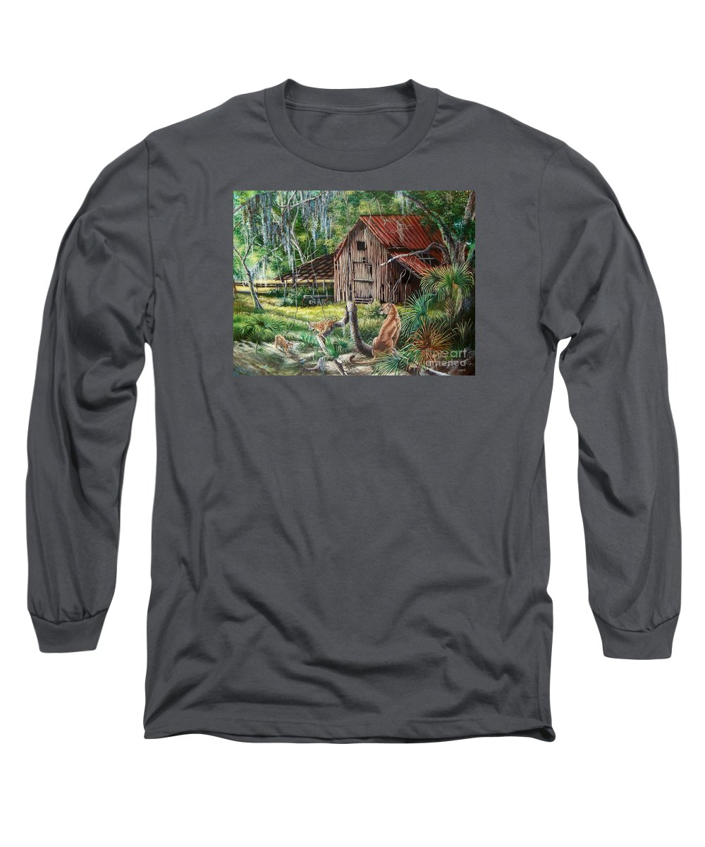 Florida Panther Long Sleeve T-Shirt featuring the painting Florida Panther- The Fight For Survival by Daniel Butler